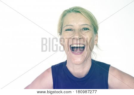 Caucasian woman positivity with big laughing