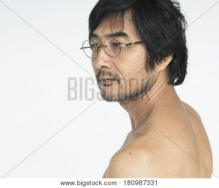 Asian ethnicity eyeglasses in a shoot