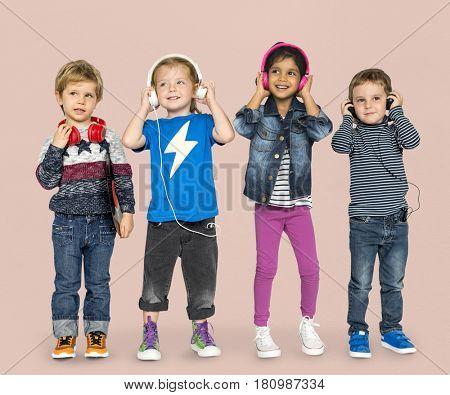 Little Children Headphone Music Adorable Cheerful