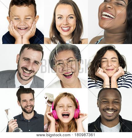 Collage of people smiling cheerful happiness face expression