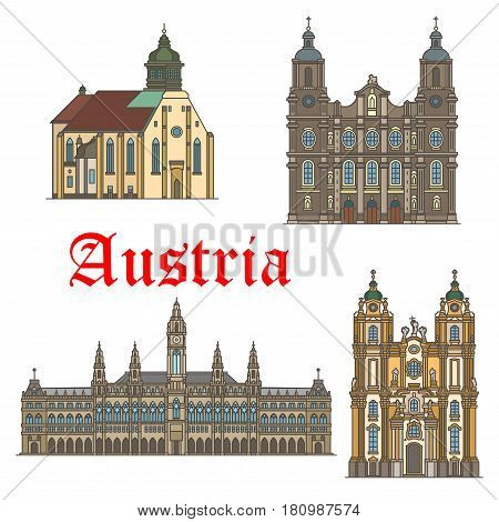 Austria landmarks and famous architecture buildings. Vector icons and facades of Wiener Rathaus town hall, Mel Abbey and St James and Graz Cathedral. Travel and tourism city sightseeing symbols