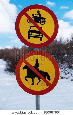 Not allowed transport vehicle sign post, isolated on white backgrounds
