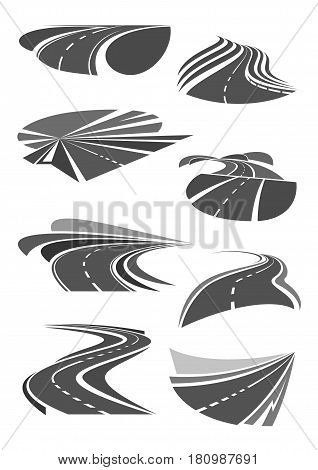 Road and highways vector icons set for travel trip or tourist company or motorway repair and construction service corporation. Design elements and symbols of traffic marking and direction turns