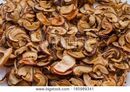 Photo of dry slices of apple close-up