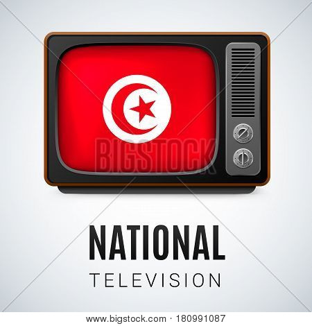 Vintage TV and Flag of Tunisia as Symbol National Television. Button with Tunisian flag