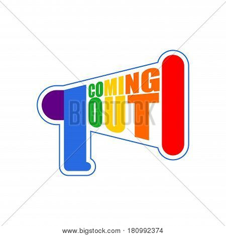 Coming Out Lgbt Sign Message. Rainbow Megaphone Icon Social Network. Symbol Recognition Of Belonging
