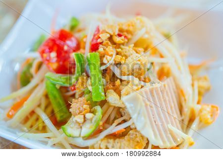 Colorful Thai Spicy Food. Papaya Salad Hot Chili Pepper Mix.