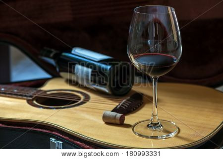 Glass Of Red Wine on Acoustic Guitar