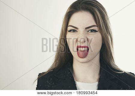 Woman Tongue  Isolated Emotion Face Portrait Photo
