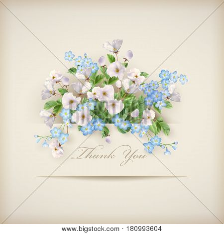 Floral 'Thank you' card with beautiful realistic flowers and paper banner. Perfect for wedding, greeting or invitation design