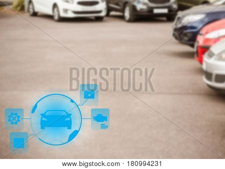 Digital composite of Cars in carpark with blue interface