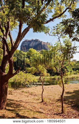 Sigiriya Lion Rock in Sri lanka vertical view