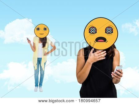 Digital composite of bad notice, young girls. Emoji face.