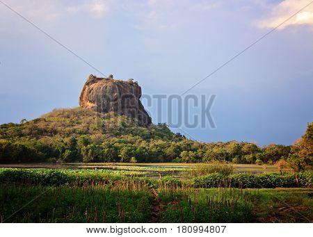 Sigiriya Lion Rock in Sri lanka horizontal view