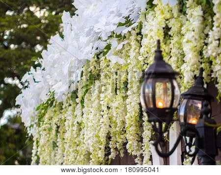 Lamp with Wedding Flower Decoration . .