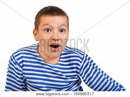 beautiful boy teenager isolated on a white background. portrait one person. child emotion shock