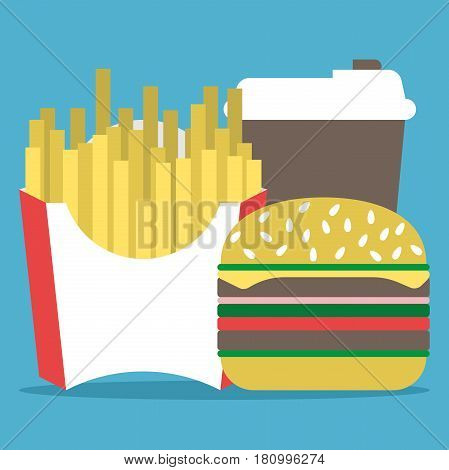 French fries or fried potato disposable paper or plastic coffee cup and hamburger on blue background. Fast food and drink concept. Flat design. Vector illustration. EPS 8 no transparency