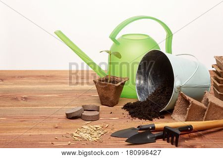 Gardening tools, bucket with soil, peat pots, seeds and young seedlings on a wooden table on a white background. Concept of spring gardening.