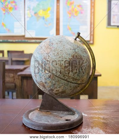 Old globe and Globe simulation of Antique store