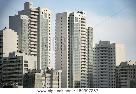 The underside is a panoramic and perspective view . The tall building, industrial architecture,skyscrapers