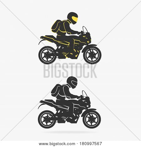 Biker Riding Motorcycle Vector Illustration eps 8 file format