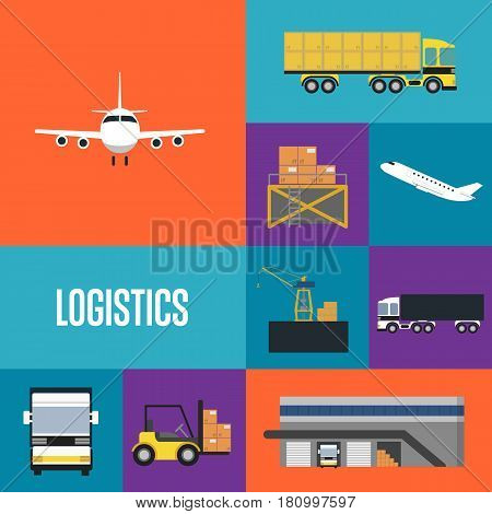 Logistics and freight transportation icons isolated vector illustration. Cargo jet airplane, freight crane, forklift with boxes, warehouse terminal, commercial truck. Worldwide delivery transportation