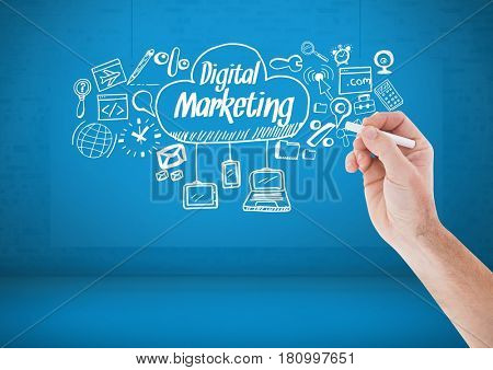 Digital composite of Hand writing chalk Digital marketing text with drawings graphics