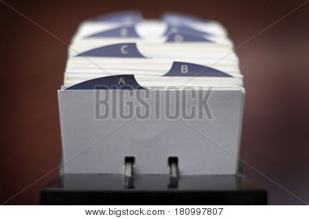Index cards for organizing business contacts and information