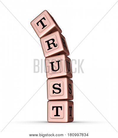 Trust Word Sign. Falling Stack of Rose Gold Metallic Toy Blocks. 3D illustration isolated on white background.