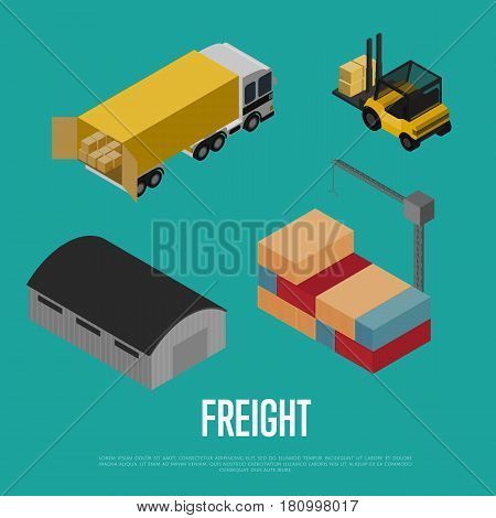 Freight shipment isometric banner vector illustration. Forklift loading freight truck, warehouse building, cargo crane loading container. Worldwide logistics, delivery transportation, shipping service