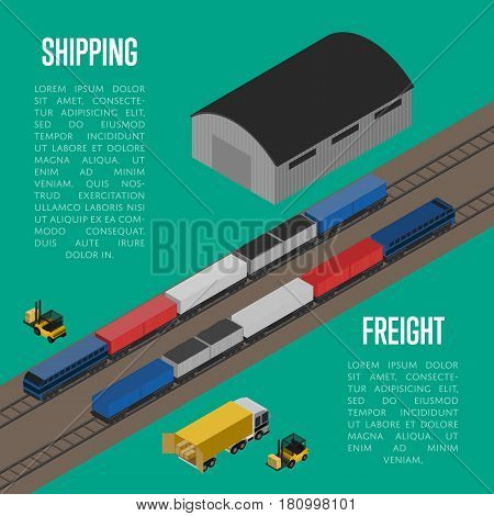 Shipping freight isometric banner vector illustration. Forklift trucks loading cargo car and freight train on railway warehouse terminal. Shipment logistics, delivery transportation, freight storage