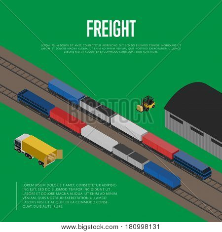 Delivery freight isometric banner vector illustration. Forklift trucks loading cargo car and freight train on railway warehouse terminal. Cargo shipment process, storage logistics and distribution