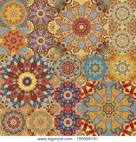 Boho tile set and seamless pattern. Brown patchwork for fabric print, wallpaper, fashionable textile. Square design elements. Unusual flower ornament Vector oriental mandala background