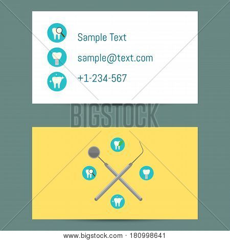 Professional white and yellow business card template for dentists with round teeth icons and dentist equipment, vector illustration. Dental office visiting card. Design for dental clinic.