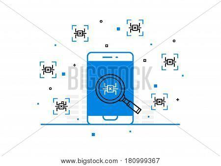 Mobile phone virus scanning vector illustration. Computer bug search process on smartphone line art.