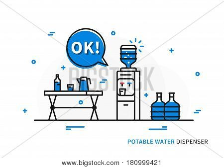 Potable water dispenser vector illustration. Office and home equipment for drinking water creative concept. Cooler with heat and cold water functions line art.
