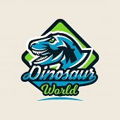 Colourful emblem, logo, label the dinosaur of the Jurassic period of the Mesozoic era is isolated on a background of the shield. Vector illustration. poster