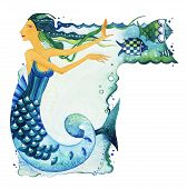 Mermaid as a symbol of the sign of the Zodiac Pisces. Mermaid surrounded by fish and seaweed on a textured background. Watercolor. poster