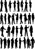 Silhouettes of lots of business people in various poses poster