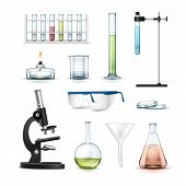 Vector set of chemical laboratory equipment test tubes, flasks with colored liquid, beaker, glasses, petri dish, alcohol burner, optical microscope and funnel Isolated on white background poster