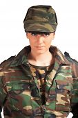 Portrait of beautiful army girl isolated background poster
