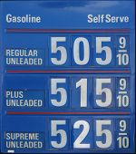 edited gas station sign showing gas at  per gallon, from directly facing sign. poster