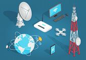 Set of wireless connection on blue background. Vector illustration of satellites around planet, tower with dishes, white drone, laptop with wi-fi, smartphone with 3G, white dish antenna, wi-fi router. poster