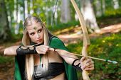 Shot of a gorgeous female elf wearing green cape hunting in the forest with a bow and arrows cosplay movie film fairytale fantasy heroine archer archery magic magical masquerade myth superhero. poster