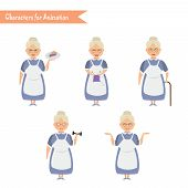 Grandmother housewife character for scenes. Funny Grandmother housewife cartoon. poster