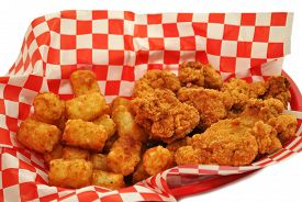 Deep Fried Chicken Nuggets with Tator Tots