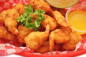 Deep Fried Shrimp in a Take Out Container