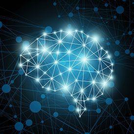 Brain polygon. AI artificial intelligence concept art.