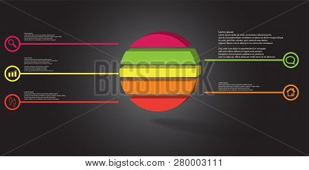 3D Illustration Infographic Template With Embossed Ring Divided To Five Parts