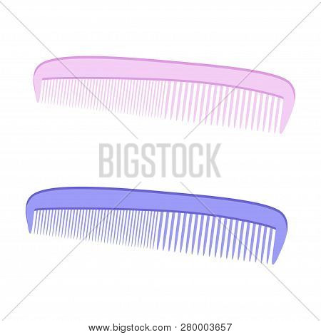 Comb On A White Background. Comb. Hair. Blue And Pink Comb Colors. Vector Illustration. Eps 10.